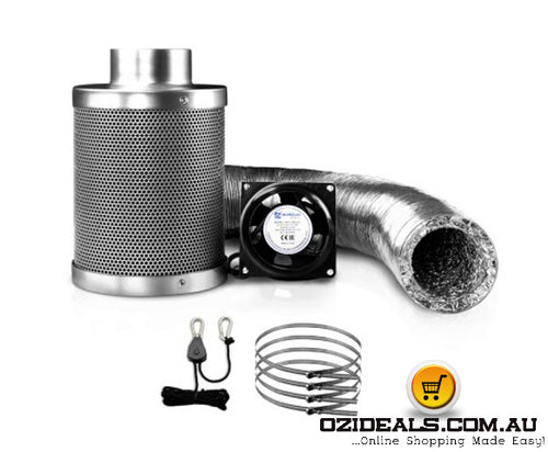 Hydroponics Grow Tent Ventilation Kit Vent Fan Carbon Filter Duct Ducting 4 inch