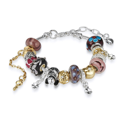 Charm Bracelet Set Embellished with Crystals from Swarovski