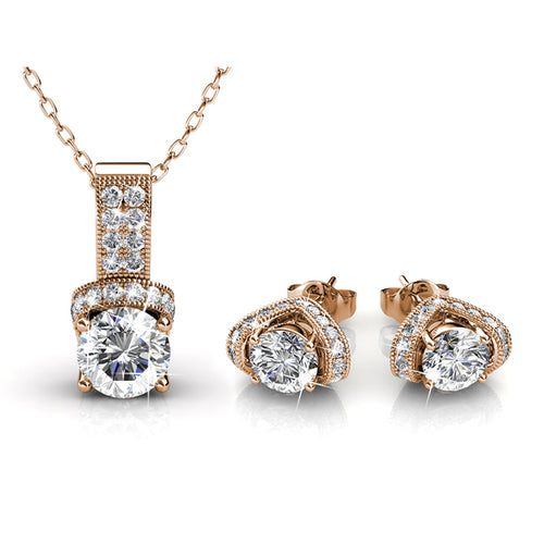 Matching Pendant and Earrings Set Embellished with  Swarovski Crystals