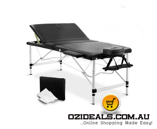 80cm wide 3 Fold Portable Aluminium Massage Table - Black