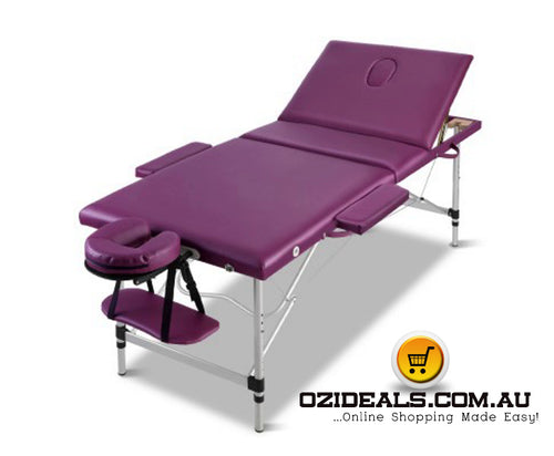 3 Fold Portable Aluminium Massage Table - Violet