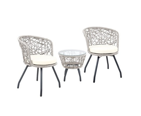 Outdoor Patio Chair and Table Grey - Black - Brown