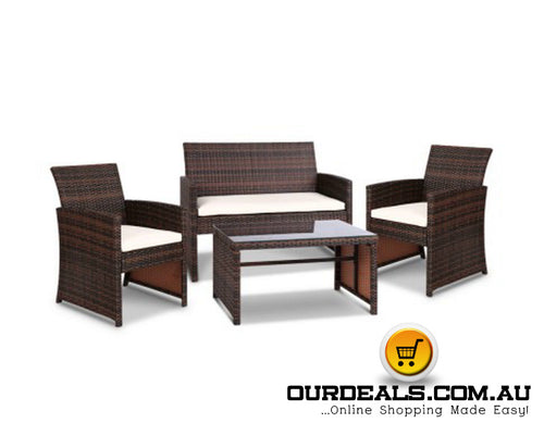 4-piece Rattan Outdoor Set - Brown