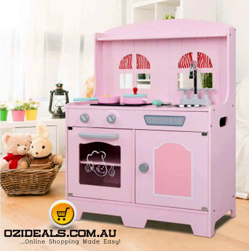 Kids Wooden Kitchen Play Set - Pink & Silver