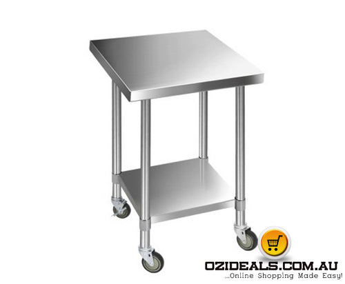 762 x 762mm Commercial Stainless Steel Kitchen Bench with 4pcs Castor Wheels