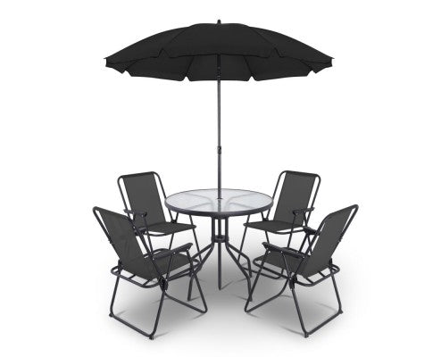 6 Piece Round Outdoor Dining Set - Black