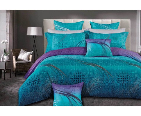 King Size Turquoise Aqua and Purple Quilt Cover Set (3PCS)