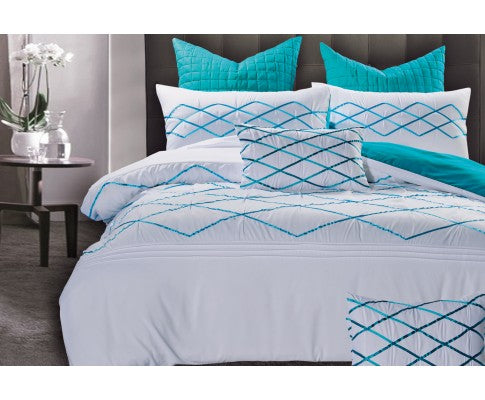 White and Turquoise Blue Quilt Cover Set (3PCS)
