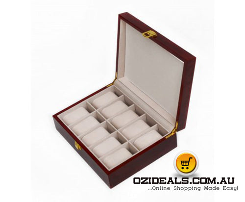 10 Grids Wooden Watch Case Glass