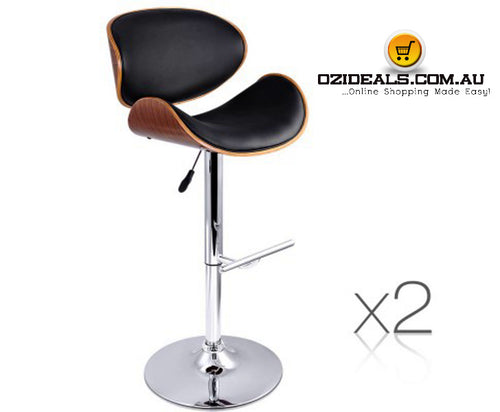 Set of 2 Wooden Gas Lift Bar Stools Black or White