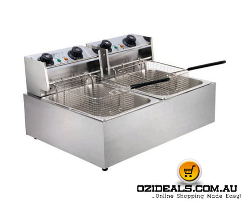 Chef Commercial Electric Twin Deep Fryer - Silver