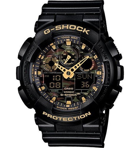 CASIO G-SHOCK ANALOGUE/DIGITAL MENS CAMOUFLAGE BLACK/GOLD WATCH