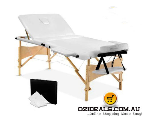3 Fold Portable Wood Massage Table - White