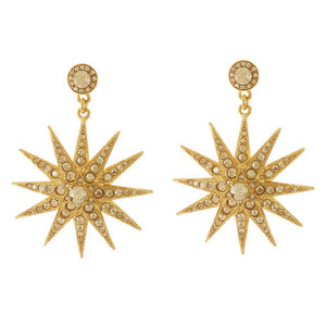 OSCAR DE LA RENTA GOLD CLASSIC CRYSTAL STAR EARRINGS