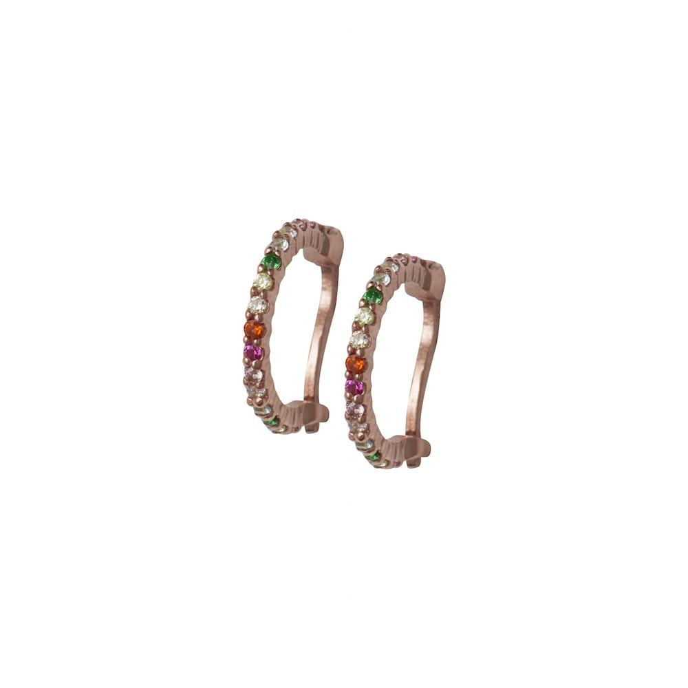 ROSIE FORTESCUE ROSE GOLD RAINBOW HUGGY HOOP EARRINGS