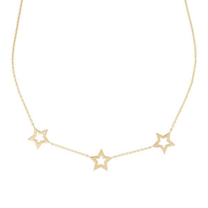 ROSIE FORTESCUE GOLD STAR TRIO NECKLACE