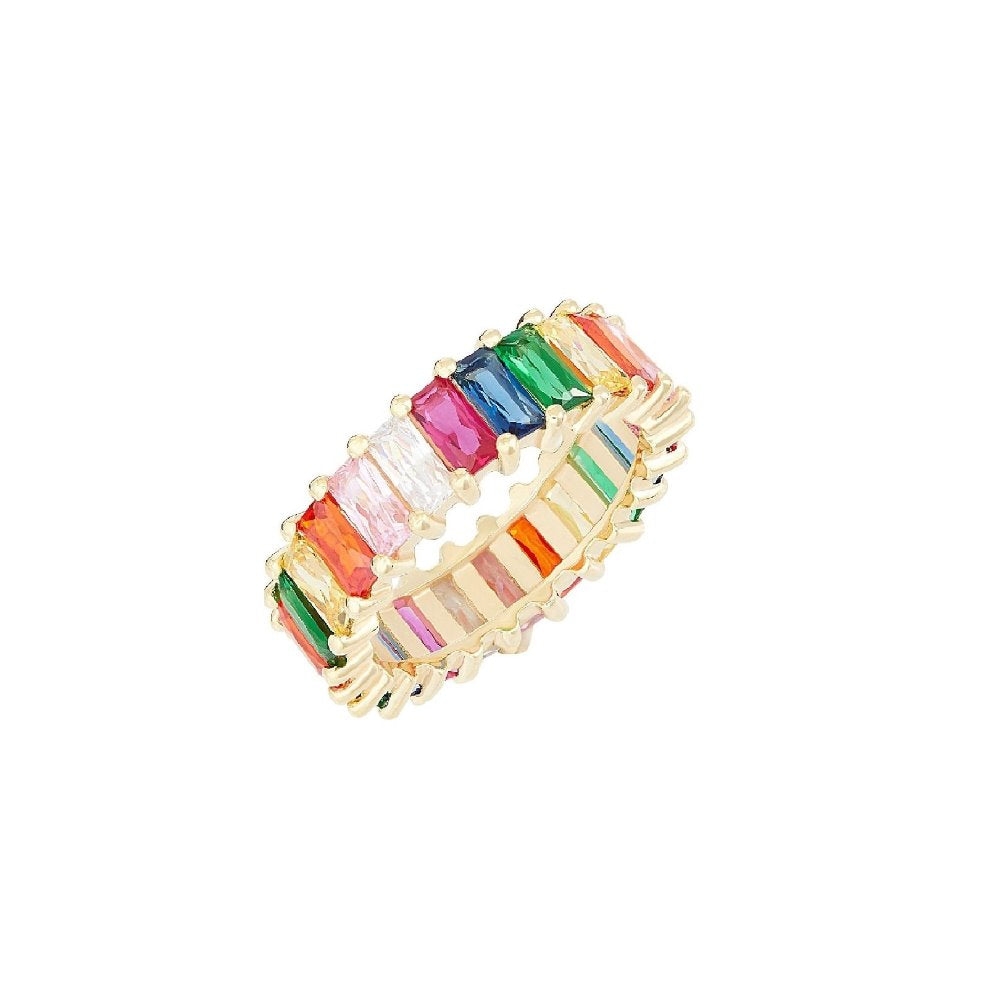 Rosie Fortescue Gold Emerald Cut Rainbow Ring | Sterling Silver | Cubic Zirconia Stone | Gold Plate