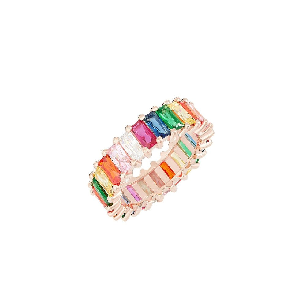 Rosie Fortescue Rose Gold Emerald Cut Rainbow Ring | Sterling Silver | Rose Gold | Rainbow Cubic Zirconia Stones