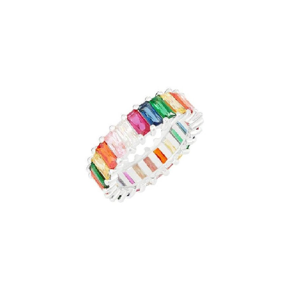ROSIE FORTESCUE SILVER EMERALD CUT RAINBOW RING