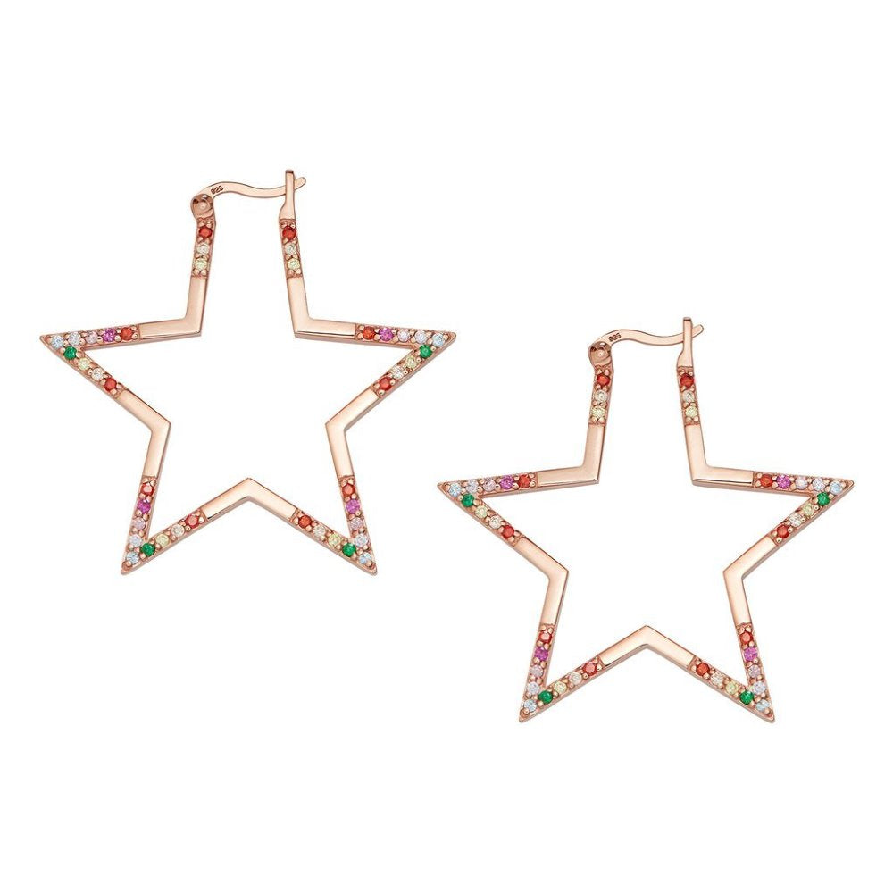Rosie Fortescue Rose Gold Large Star Rainbow Hoops | Sterling Silver | Rose Gold | Rainbow Cubic Zirconia Stones