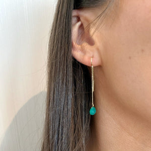 PERLE DE LUNE GREEN AGATE CHAIN-THROUGH DROP EARRINGS