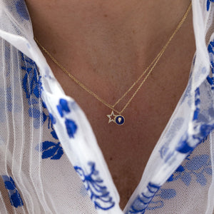 LOULERIE PEAR DIAMOND CHARM NAVY NECKLACE