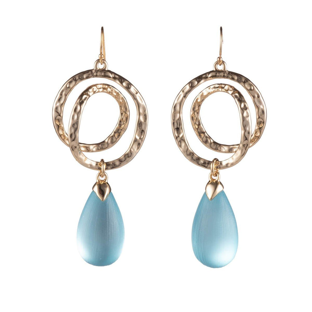 ALEXIS BITTAR HAMMERED COIL LINK TEAR DROP EARRINGS