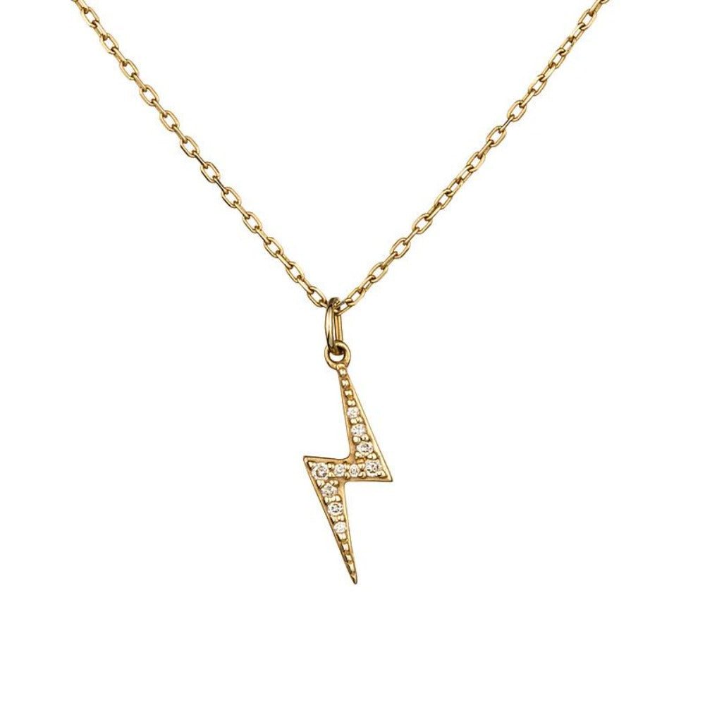 Loulerie 14k Yellow Gold and White Diamond Lightning Bolt Necklace