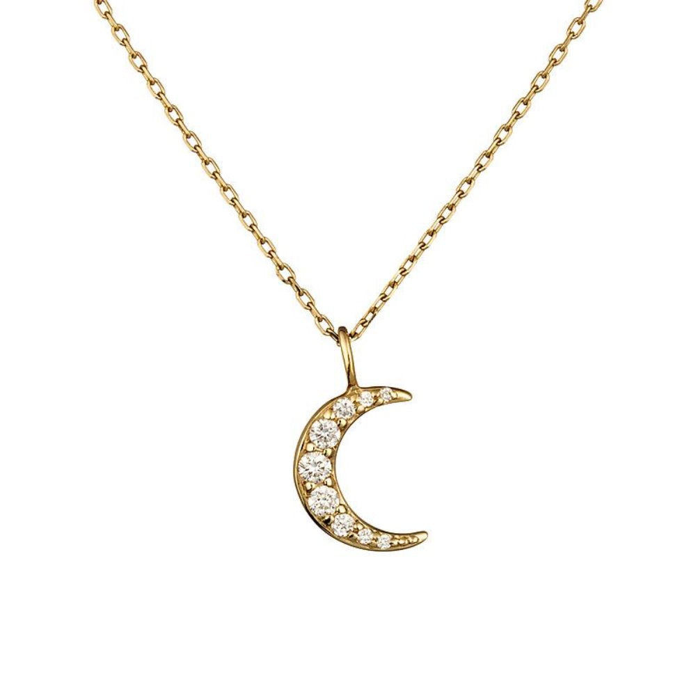 Loulerie 14k Gold and White Diamond Moon Necklace