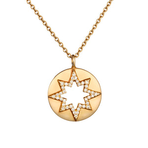 Loulerie 14K Gold and White Diamond Cut Out Star Necklace