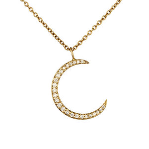 Loulerie 14K Yellow Gold and White Diamond Crescent Moon Necklace