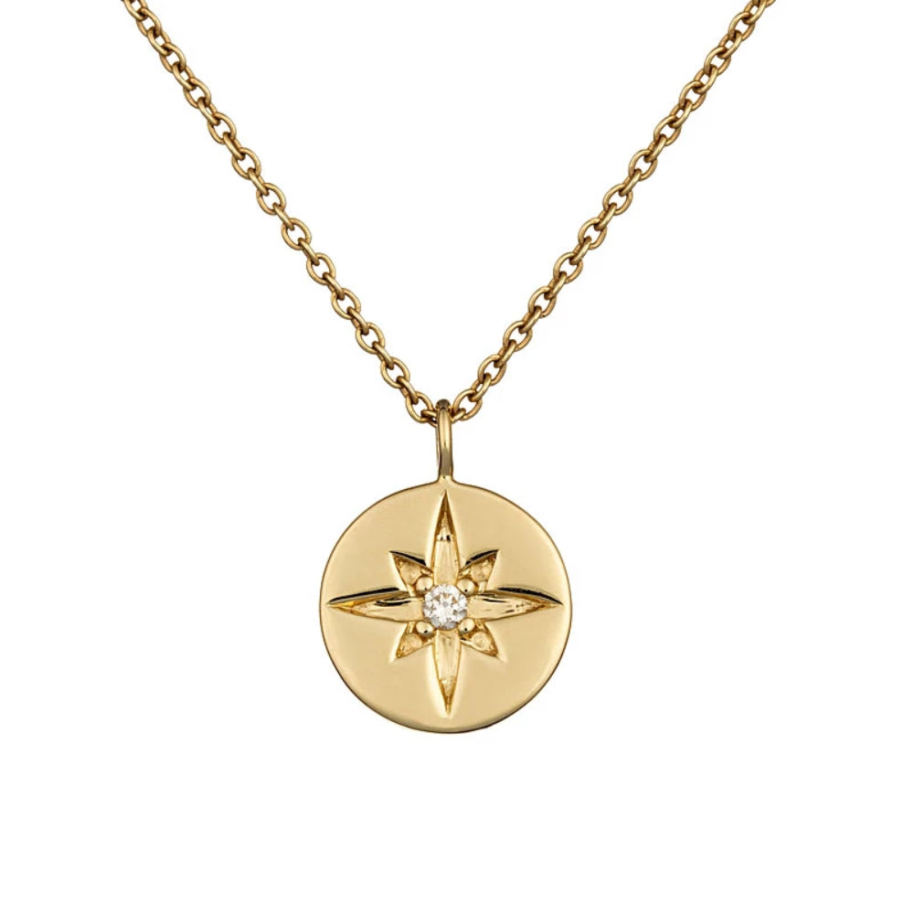Loulerie 14K Yellow Gold and White Diamond Northern Star Necklace