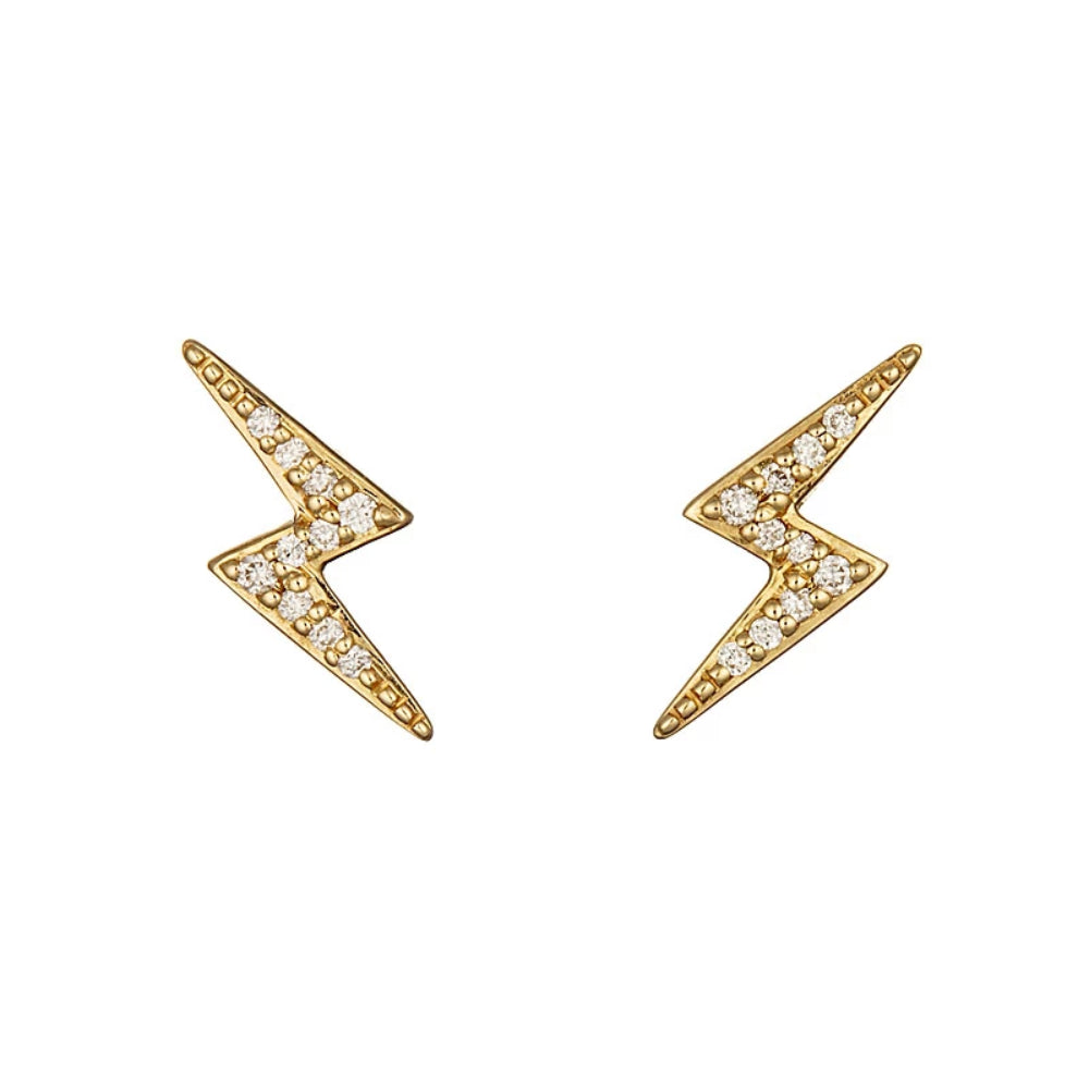 Loulerie Diamond Lightning Bolt Stud Earrings | 14K Gold | White Diamond