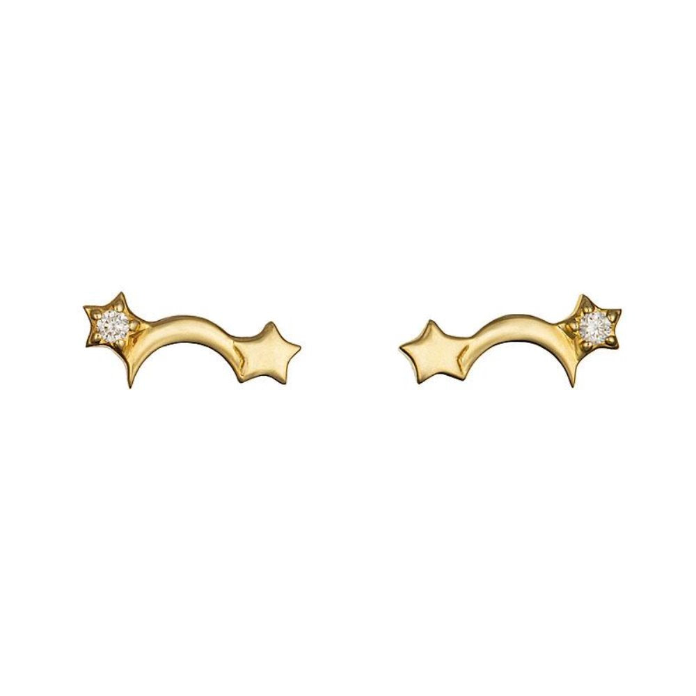 Loulerie 14k Gold Diamonds Celestial Star and Moon Stud Earrings