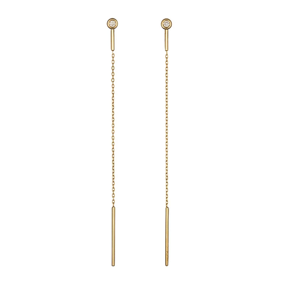 Loulerie 14k Yellow Gold White Diamond Threader Long Earrings