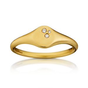 Loulerie 14K Gold and White Diamond Signet Ring