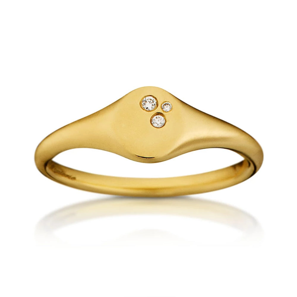 Loulerie Diamond Signet Ring | 14K Gold | White Diamond