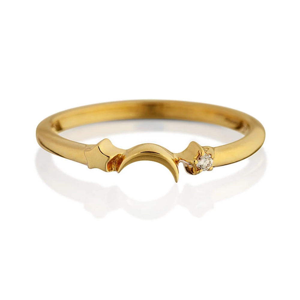 Loulerie White Diamond and 14K Gold Moon and Star Celestial Ring
