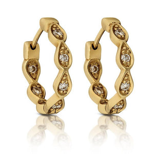 Loulerie White Diamond Gypsy Huggy Hoop Earrings | 14K Gold | White Diamond