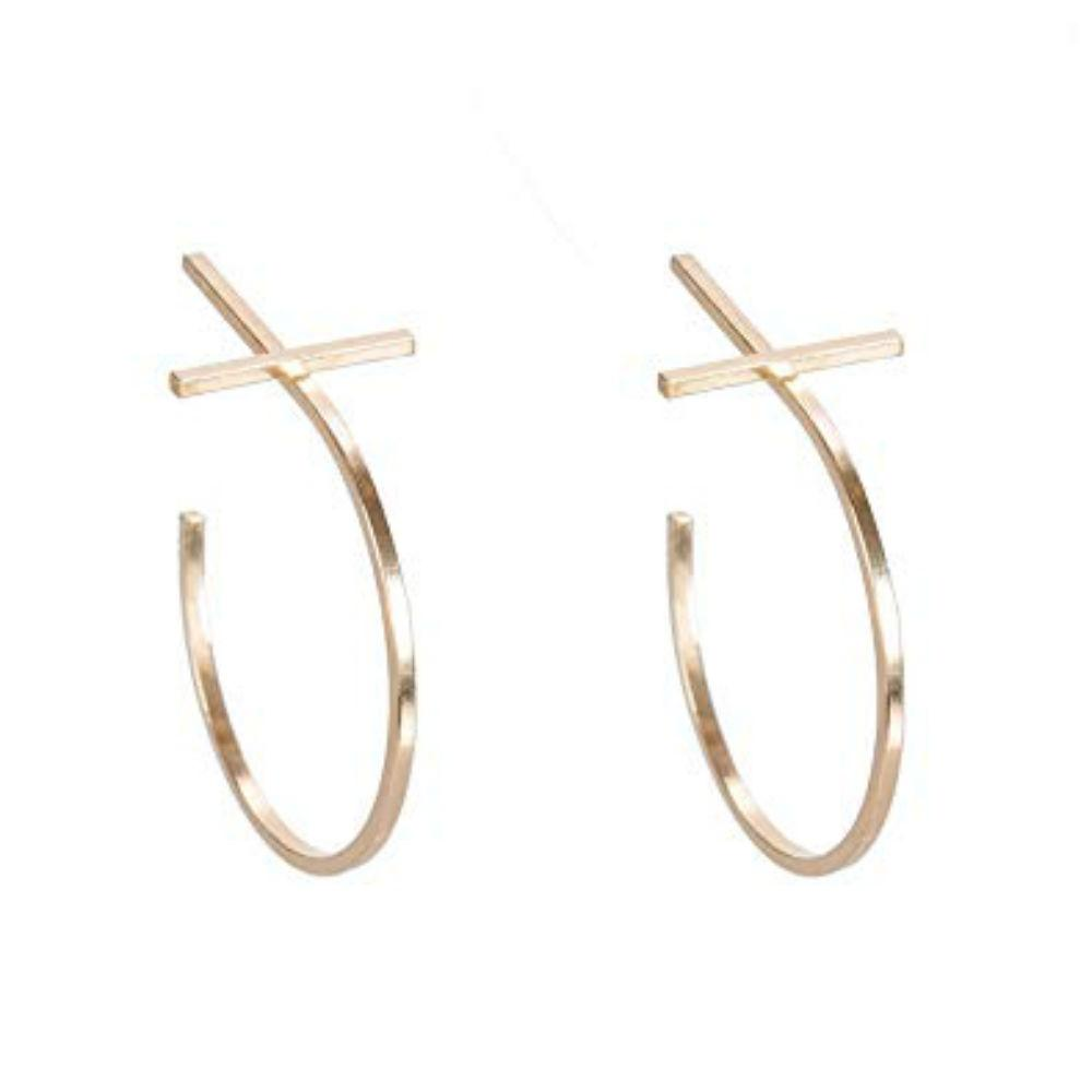 BY BOE CROSS BAR HOOP EARRINGS