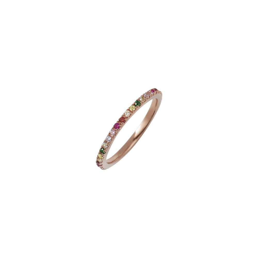 ROSIE FORTESCUE ROSE GOLD RAINBOW STACKING RING