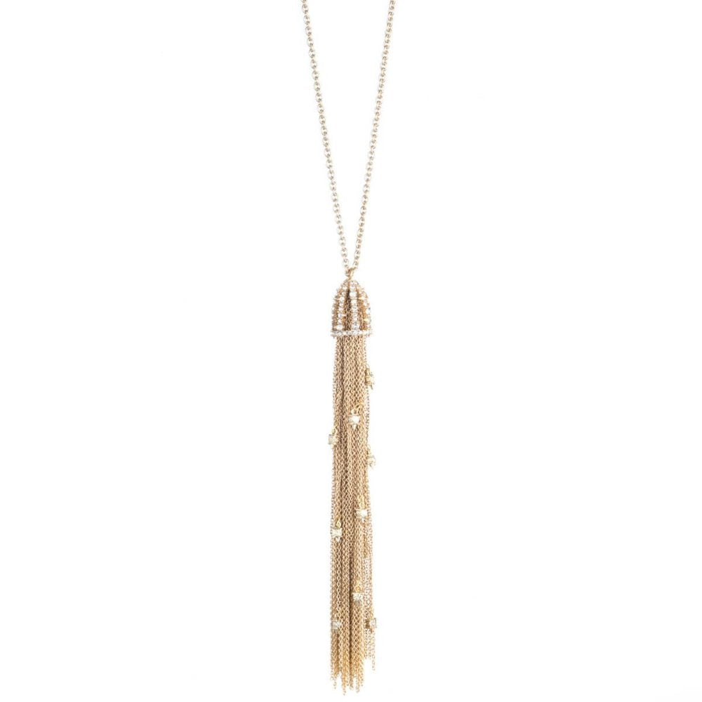 Alexis Bittar Tassel Pendant Necklace | 10K Gold Tone | Crystals