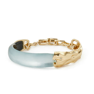 Alexis Bittar Crumpled Metal Capped Skinny Bracelet | Blue Lucite | Gold