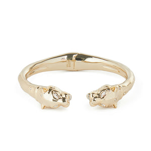 Alexis Bittar Face to Face Panther Hinge Bracelet | Gold | White Crystals