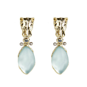 Alexis Bittar Panther Head Hinged Drop Clip On | Earrings | Blue Lucite | Gold | White Crystals