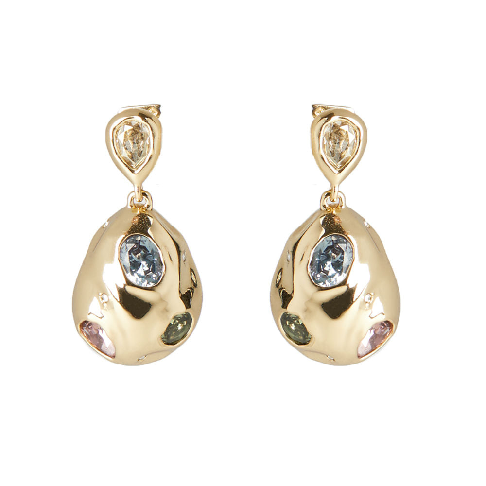 Alexis Bittar Stone Studded Crumpled Drop Post Earrings | Gold Tone | Crystal