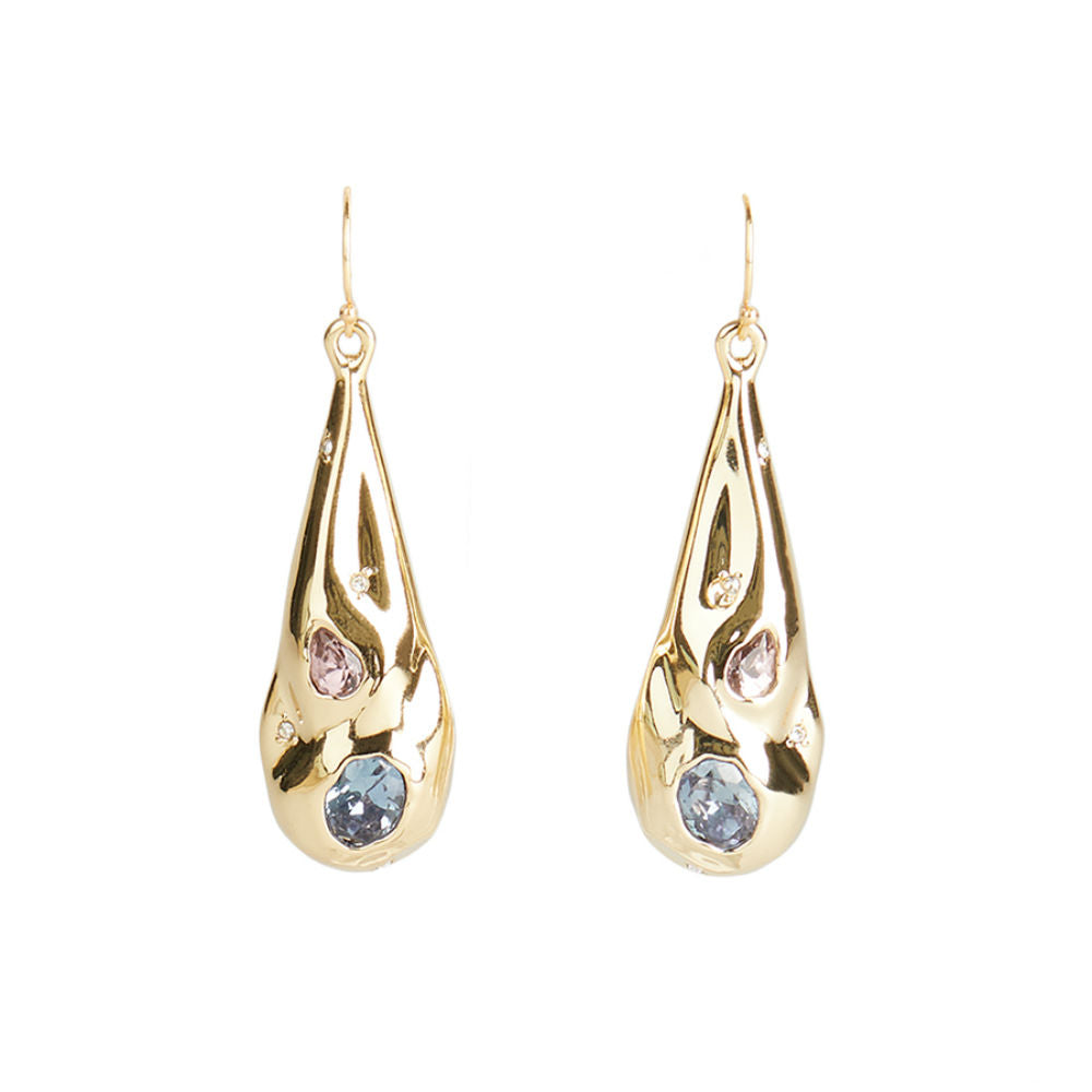 Alexis Bittar Double Stone Crumpled Teardrop Earring | Gold | Crystals Colours
