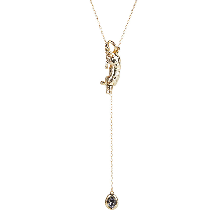 ALEXIS BITTAR PANTHER STONE LARIAT NECKLACE