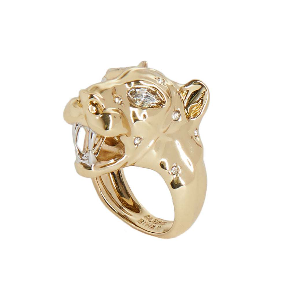 Alexis Bittar Panther Head Ring | Gold | Crystals