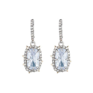 ALEXIS BITTAR SILVER CRYSTAL FRAMED CUSHION EARRINGS